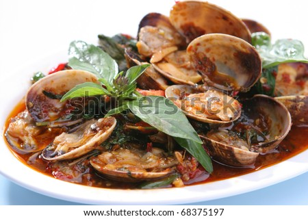 Clams Shell in Chili Paste - stock photo