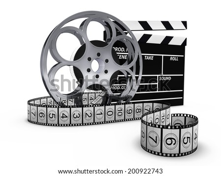Clap board with film reel - stock photo