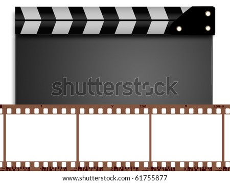 clapboard and negative film - stock photo