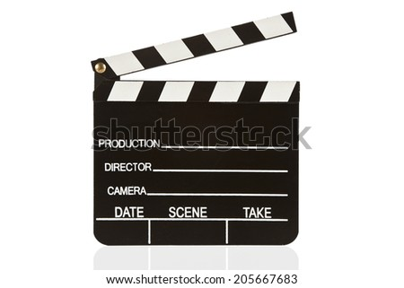 Clapper board isolated with white background - stock photo