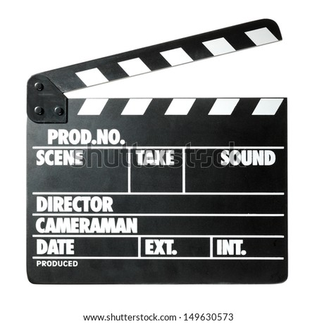 Clapper board on white background - stock photo