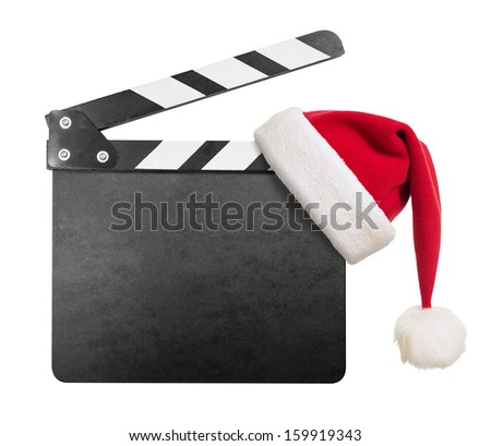 Clapper board with Santa's hat on it isolated on white - stock photo
