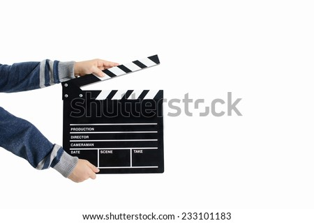 Clapperboard hold by child's hands - stock photo