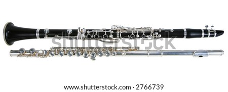 Clarinet and flute Isolated on white - stock photo