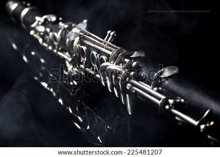 Clarinet Isolated On Black Background - stock photo