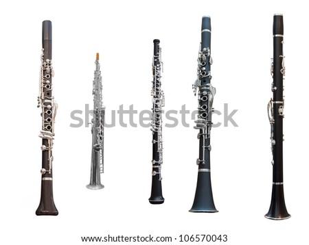clarinets isolated under the white background - stock photo