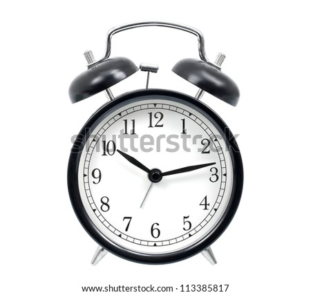 Classic alarm clock isolated on white - stock photo