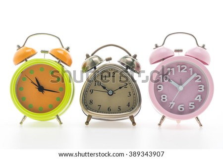 Classic Alarm Clock isolated on white background - stock photo