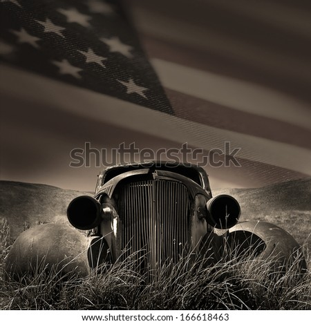 Classic american car with the US flag as a skyline - stock photo