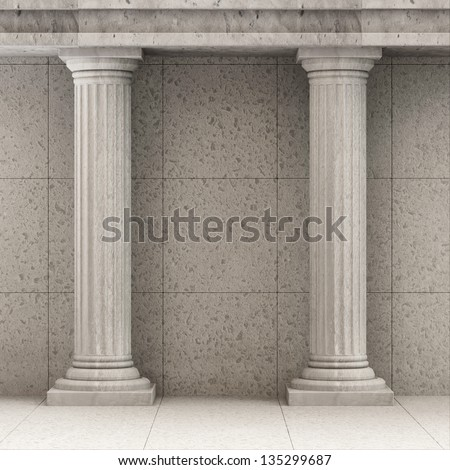 Classic Ancient Interior with Columns - stock photo