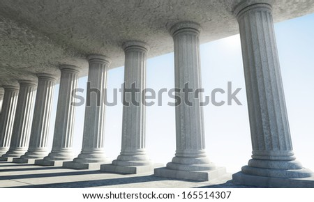 Classic Ancient Interior with sun rays breaking through a columns. (Animation for this image see in my footage gallery) - stock photo