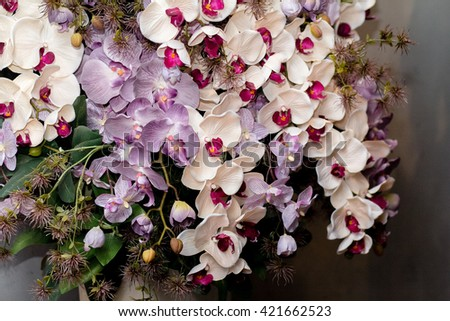Classic and elegant bridal decoration. close up of wedding bouquet - stock photo