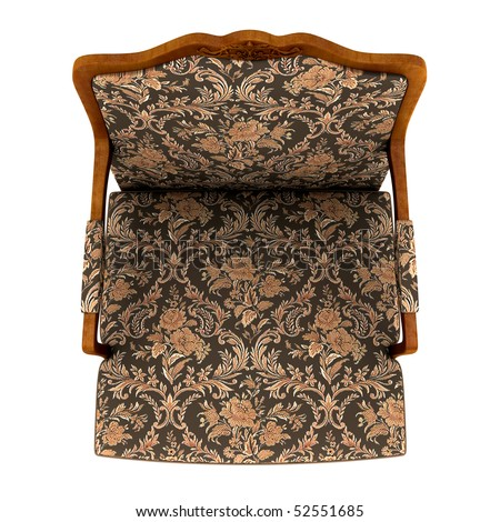 Classic armchair isolated on the white background. Top view - stock photo