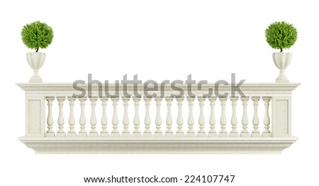 Classic balcony balustrade  isolated on white -  3D Rendering - stock photo