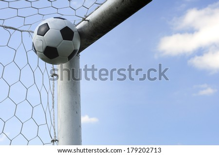 Classic ball pattern with football-net, GOAL - stock photo