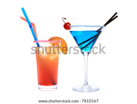 classic bar cocktails isolated on white - stock photo