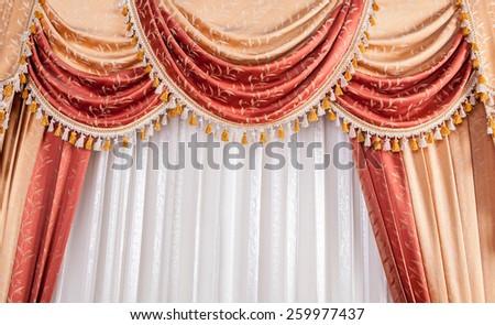 Classic beige curtain - stock photo