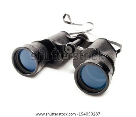 Classic binoculars or spyglass on a white background. - stock photo