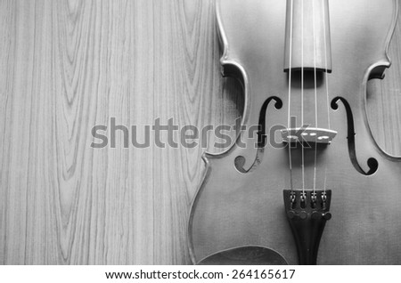 classic black and white violin - stock photo