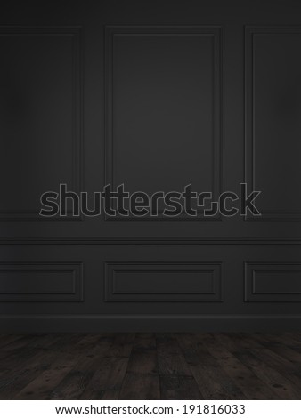 Classic black wall background  - stock photo