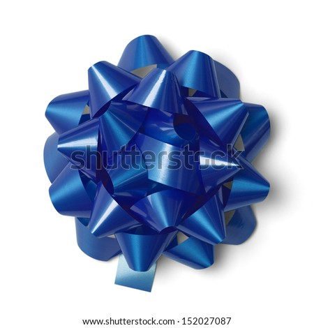 Classic Blue Present Bow Isolated on White Background. - stock photo