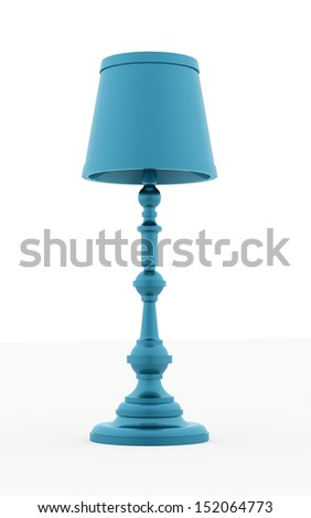 Classic blue vintage lamp rendered on white background - stock photo