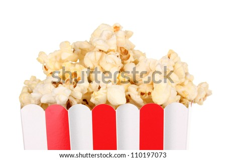 classic box of popcorn isolated on white - stock photo