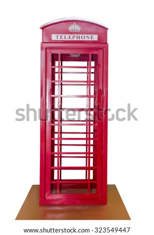 Classic British red phone booth isolated on white background - stock photo