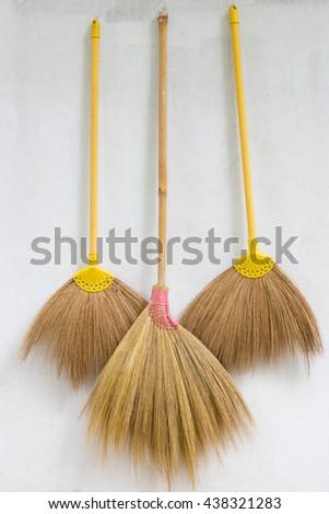 Classic broom. - stock photo