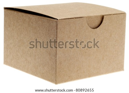 Classic Brown Box Closed Isolated on White with a Clipping Path. - stock photo