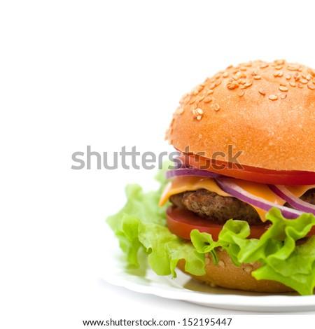 Classic Burger isolated on white background   - stock photo
