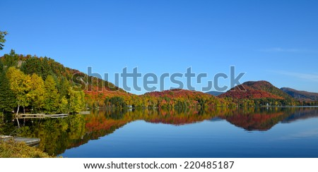 Classic Canadian lake view in fall colors - stock photo