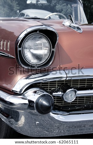 Classic car with close up shot front right view - stock photo