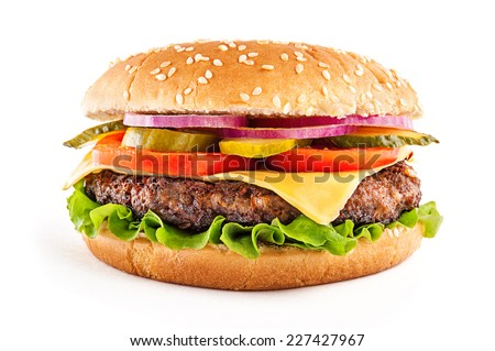 Classic cheeseburger - stock photo