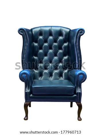 Classic Chesterfield luxury blue armchair isolated on white - stock photo