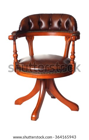 Classic Chesterfield luxury chair isolated on white background - stock photo