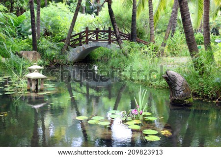 classic chinese garden, south China - stock photo