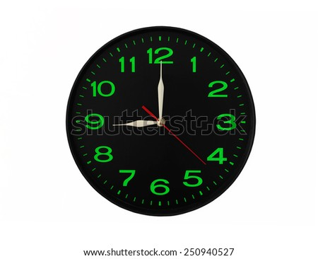 Classic clock isolated on white, front view - stock photo