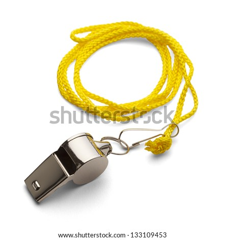Classic Coaches Whistle, Chrome With Yellow Cord on Isolated White Background. - stock photo