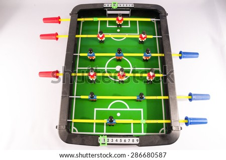 Classic Colored Plastic Foosball Football Toy Game - stock photo