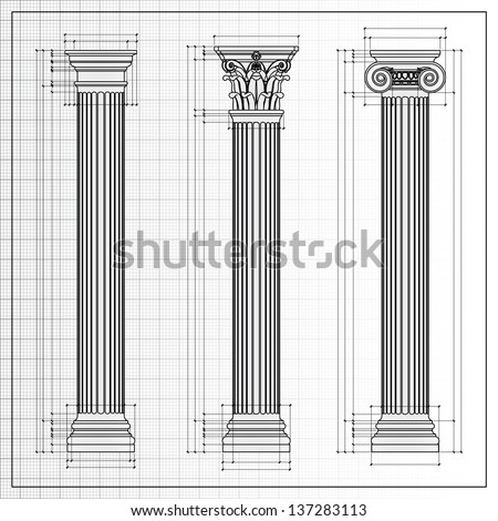 classic columns background sketch isolated on white - stock photo