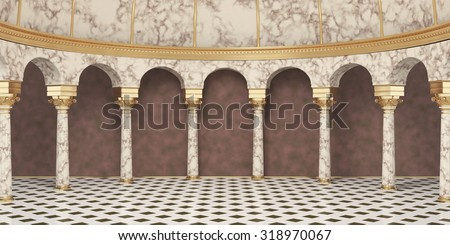 Classic Columns Interior. 3d rendering - stock photo