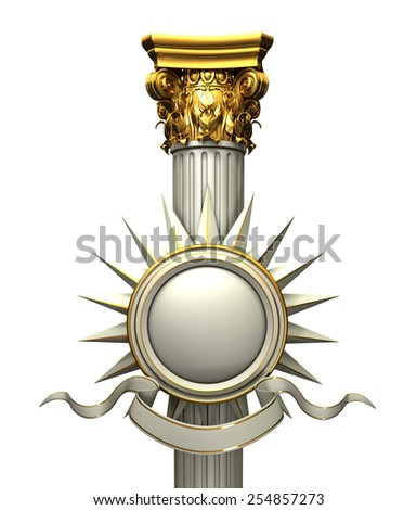Classic Corinthian Column Composition With Gold Elements - stock photo