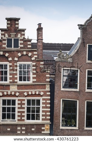 Classic crooked house in Amsterdam - stock photo