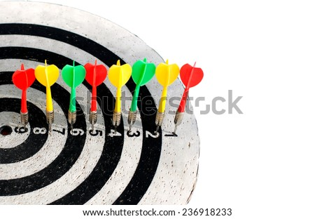 Classic darts board with Black and White sectors - stock photo