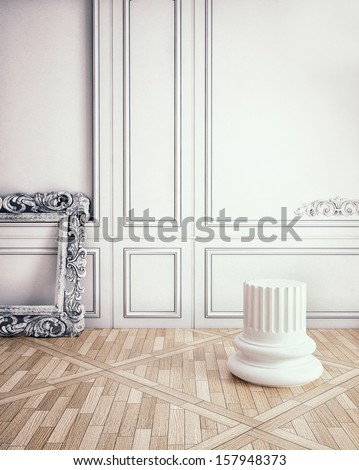 classic decorate wall with column pedestal - stock photo