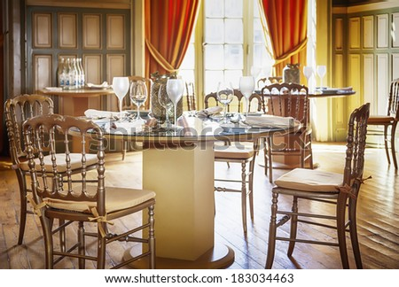 classic decorated restaurant table  - stock photo