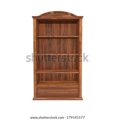 classic design fine wooden book shelf isolated on white - stock photo