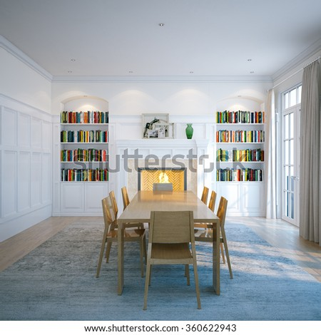 Classic domestic library with wooden furniture, window and fireplace. 3d render - stock photo