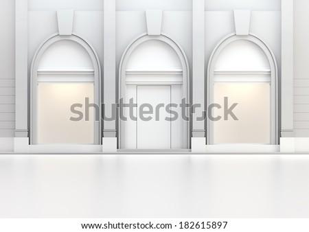 Classic empty shop window - stock photo
